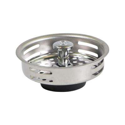 3-1/2 in. Strainer Basket Universal Replacement for Kitchen Sink Drains Stainless Steel with Rubber Stopper