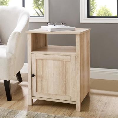 18 in. Grooved Door Side Table - White Oak