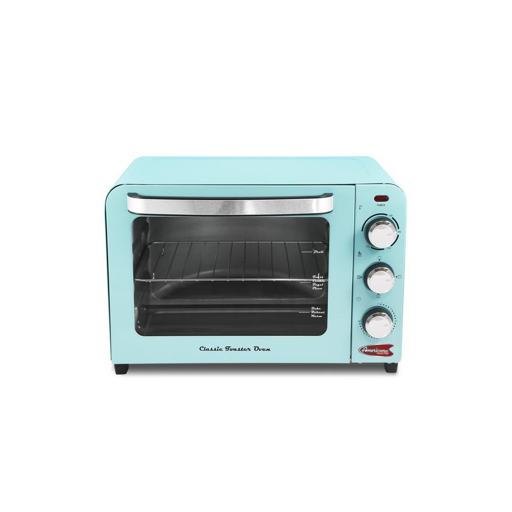 6-Slice/26 l Blue Retro Toaster Oven