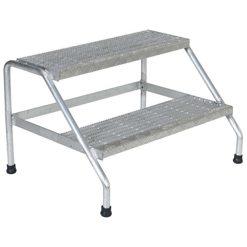 Vestil 2-Step Yellow Aluminum Step Stand - Wide Welded by Vestil