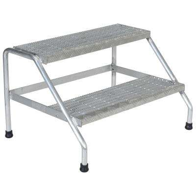 2-Step Yellow Aluminum Step Stand - Wide Welded