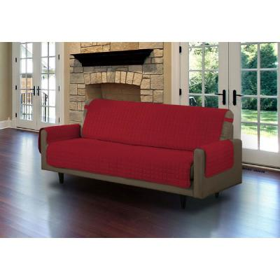Microfiber Burgundy Sofa Pet Protector Slipcover with Tucks and Strap