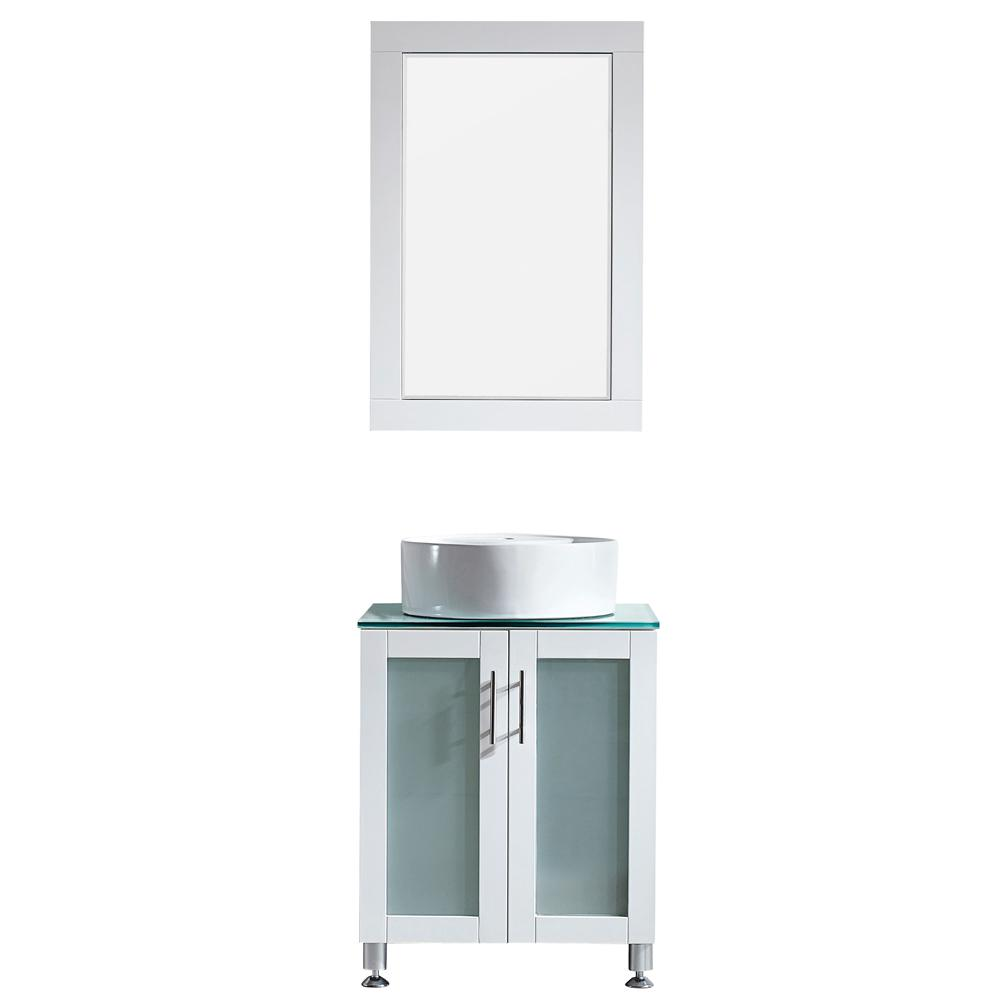 ROSWELL Tuscany 24 in. W x 22 in. D x 30 in. H Vanity in White with Glass Vanity Top in Aqua Green with Basin and Mirror