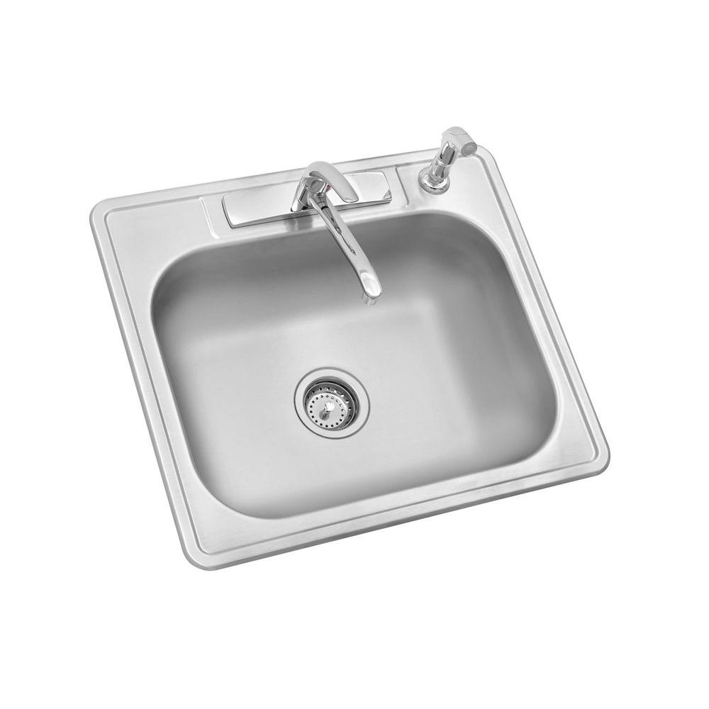 One Bowl Stainless Steel Kitchen Sinks Glacier bay all in one drop in stainless steel 25 in 4 hole single glacier bay all in one drop in stainless steel 25 in 4 workwithnaturefo