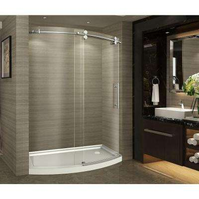 ZenArch 60 in. x 75 in. Completely Frameless Bowfront Sliding Shower Door in Stainless Steel with Left Opening and Base