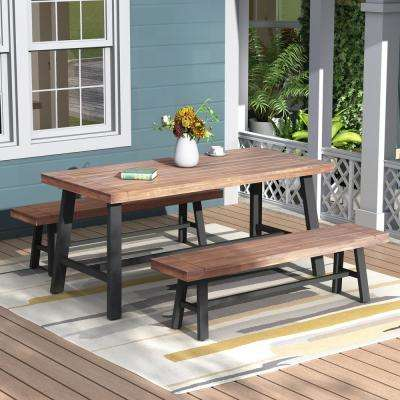 Holdrege Rustic Metal 3-Piece Wood Outdoor Dining Set