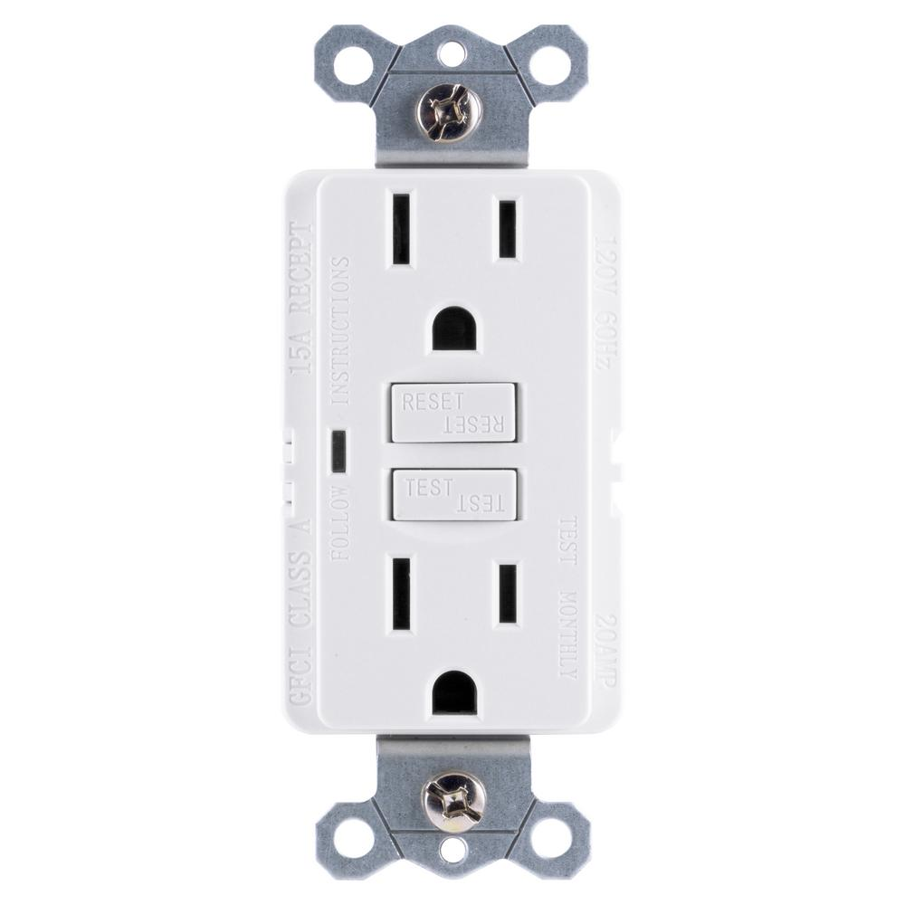 ge 15 amp self test gfci outlet, white