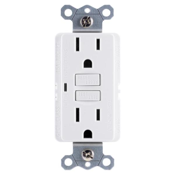 Ge 15 Amp Self Test Gfci Outlet White 32073 The Home Depot