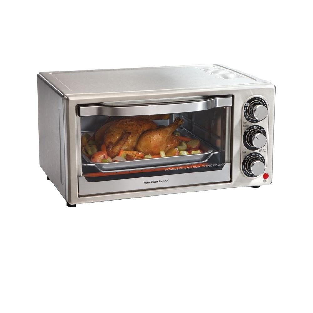 HamiltonBeach Hamilton Beach 1300 W 6-Slice Stainless Toaster Oven with Broiler and Built-In Timer