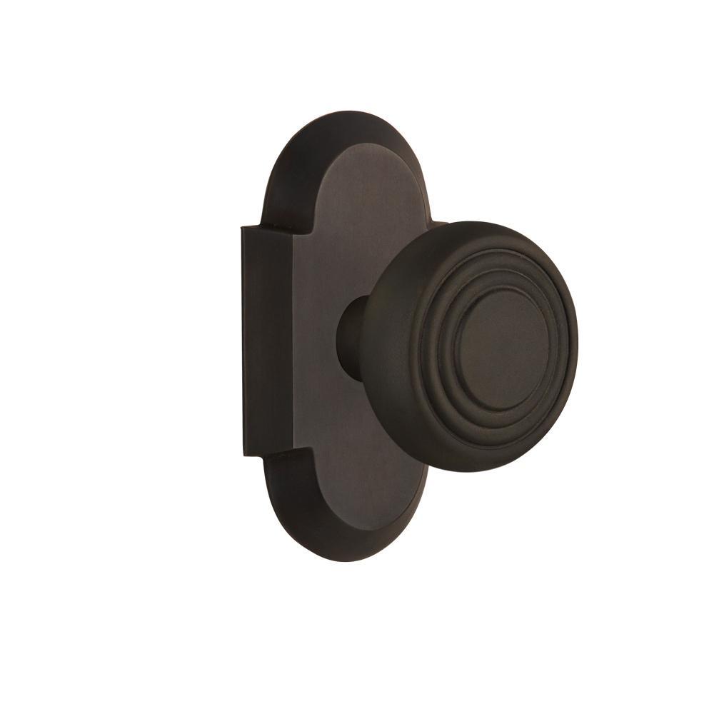 Cottage Plate 2-3/4 in. Backset Oil-Rubbed Bronze Passage Hall/Closet Deco Door