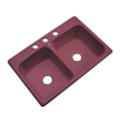 Newport Drop-in Acrylic 33.in 3-Hole Double Bowl Kitchen Sink in Raspberry Puree