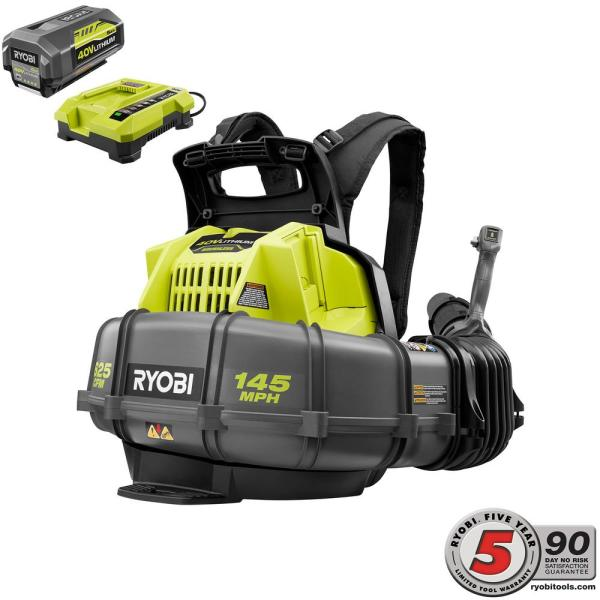 Ryobi RY40440 40 Volt 145 MPH 625 CFM Cordless Brushless Variable Speed Backpack Leaf Blower with Lithium-Ion Battery and Charge Kit (New Open Box)