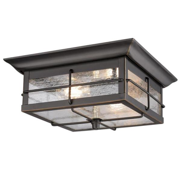 Orwell 2-Light Oil Rubbed Bronze with Highlights Outdoor Flush Mount Light with Clear Seeded Glass
