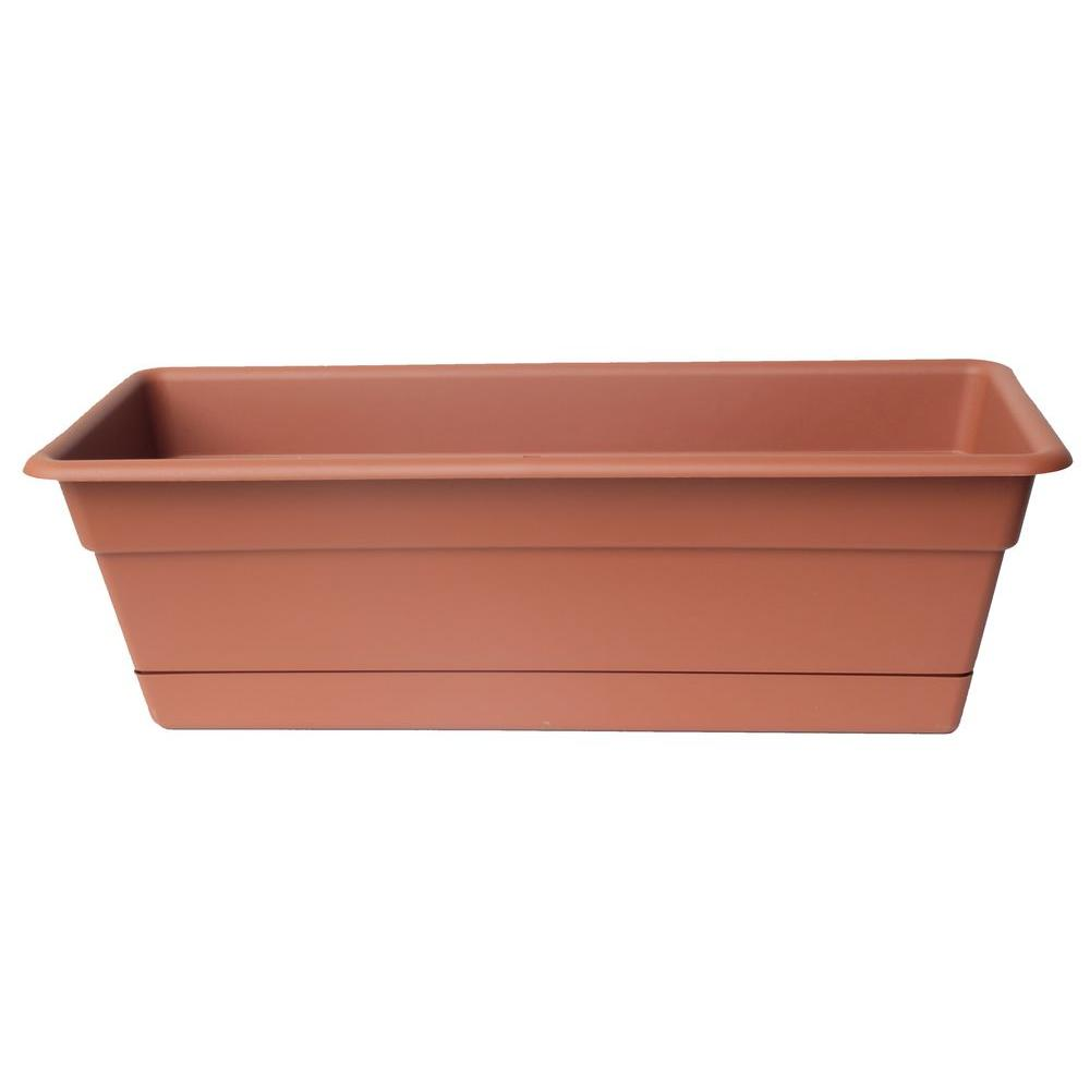Bloem 36 x 5.75 Terra Cotta Dura Cotta Plastic Window Box Planter w/ Saucer