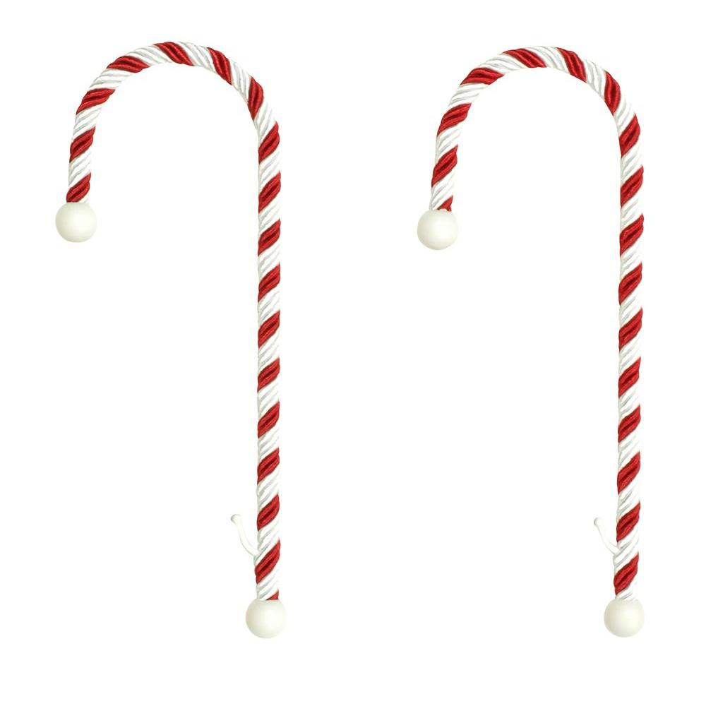 HAUTE Candy Cane Stocking Holders (2-Pack), Red & White