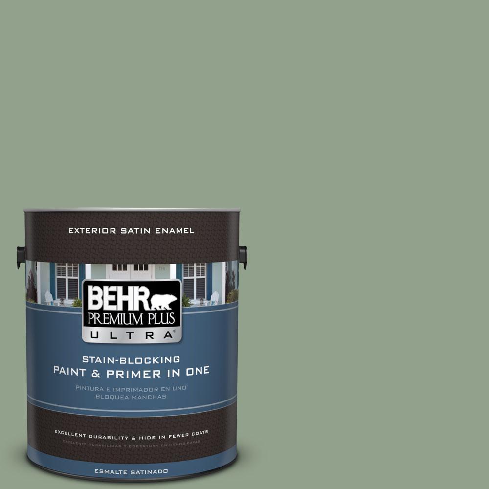 BEHR Premium Plus Ultra 1-gal. #440F-4 Athenian Green Satin Enamel Exterior Paint