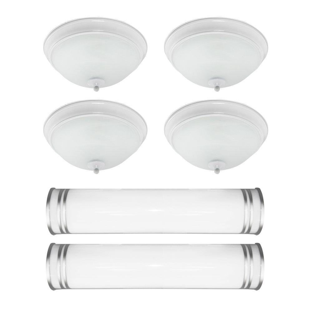 Efficient Lighting Bed and Bath 6 Piece Value Pack White and Brushed Nickel Flush mounts and Vanity Wall Mounts with Bulbs-DISCONTINUED