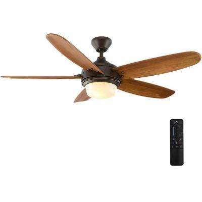 Breezemore 56 in  LED Indoor Mediterranean Bronze Ceiling Fan with Light  Kit and Remote Control