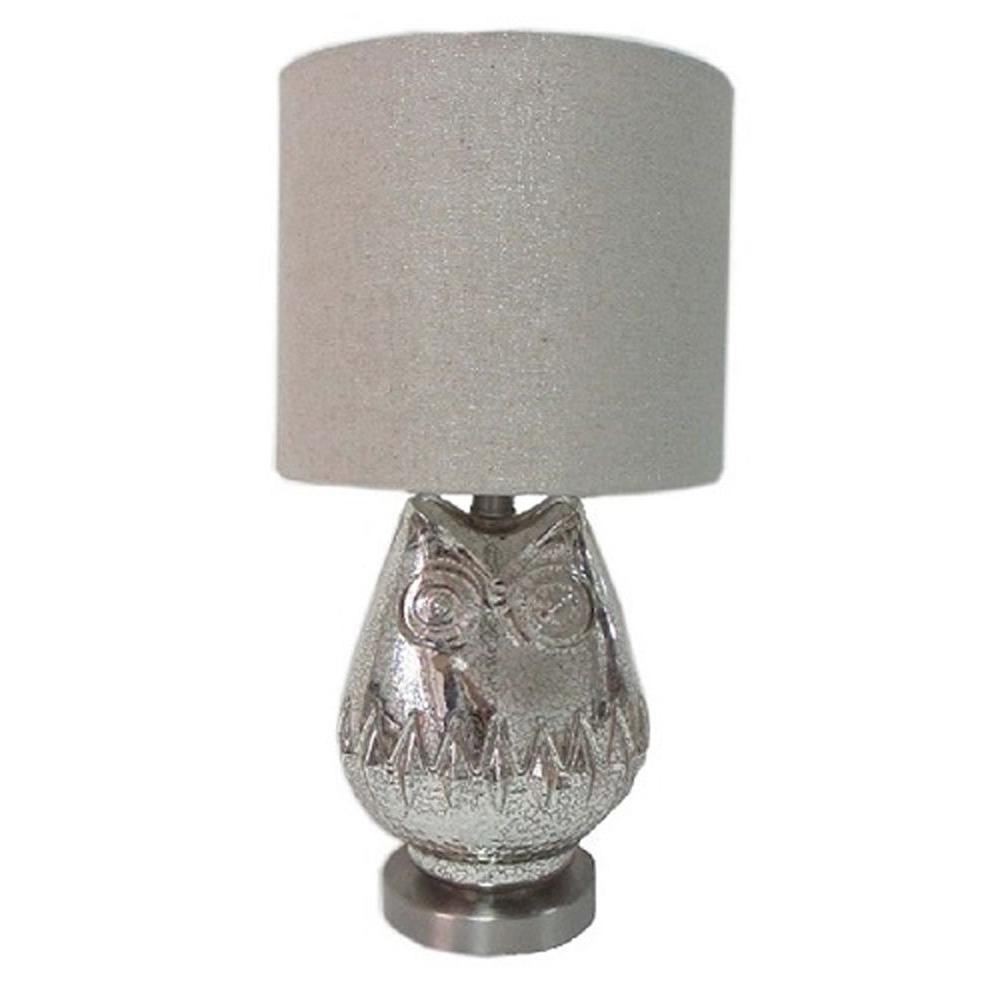 Simple Designs 22.5 in. Stainless Steel Speckled Glass Owl Table Lamp-DISCONTINUED