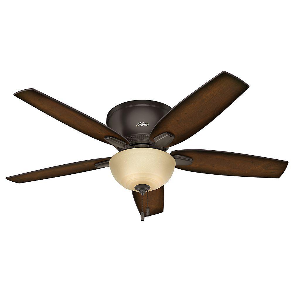 Hunter Oberlin 52 inch Indoor Low Profile Premier Bronze Ceiling Fan with Light Kit by Hunter
