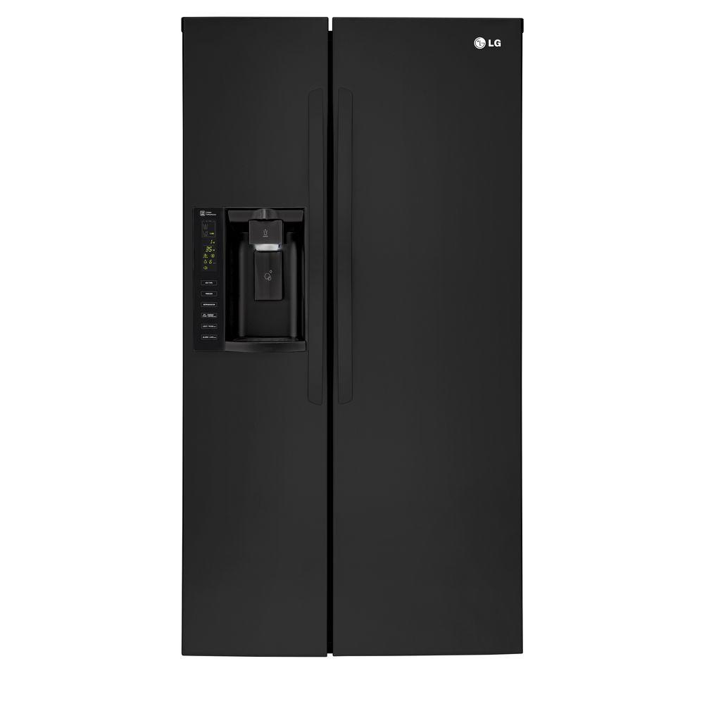 lg electronics cu ft side by side refrigerator in smooth black lsxs26326b the home depot. Black Bedroom Furniture Sets. Home Design Ideas