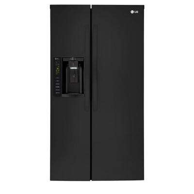 26.16 cu. ft. Side by Side Refrigerator in Smooth Black