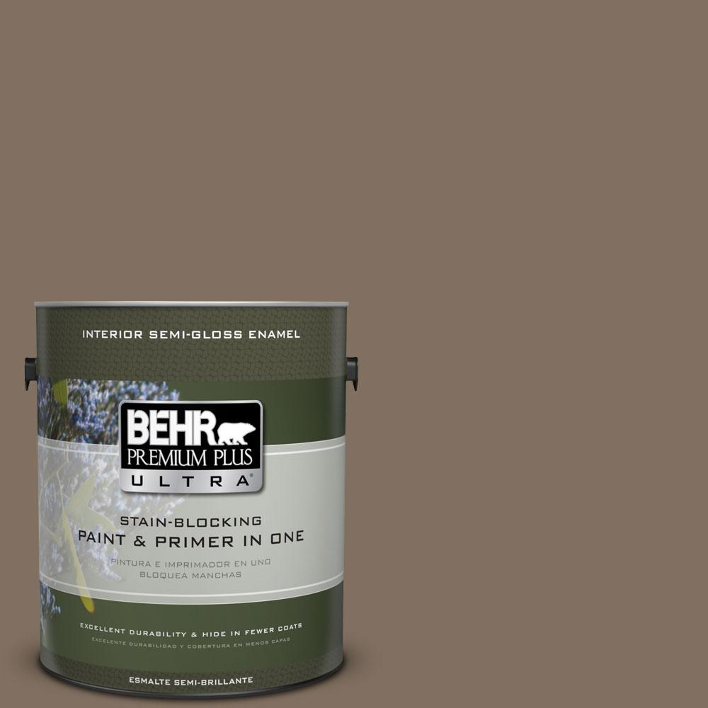 BEHR Premium Plus Ultra 1-gal. #PPU5-4 Mocha Latte Semi-Gloss Enamel Interior Paint