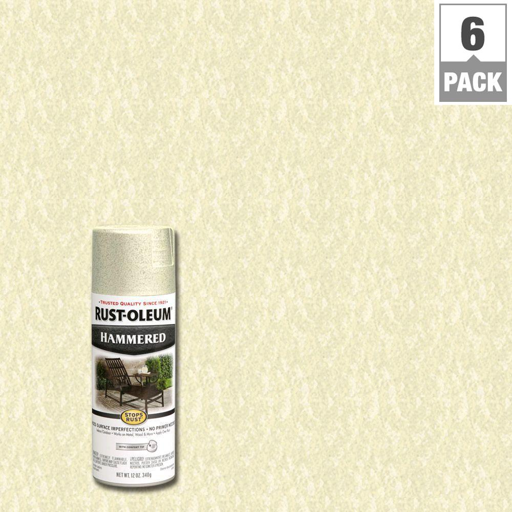 Rust Oleum Stops Rust 12 Oz Hammered Ivory Protective Spray Paint 6 Pack