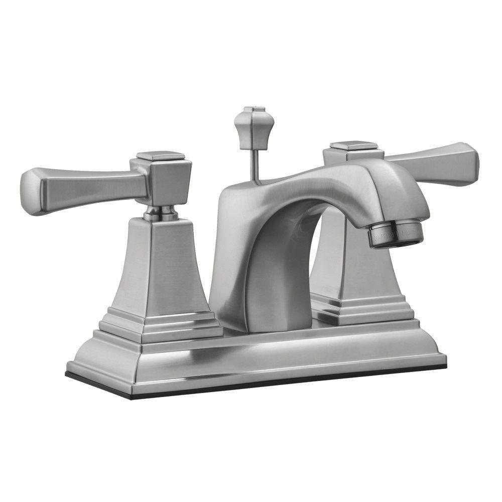Torino 4 in. Centerset 2-Handle Bathroom Faucet in Satin Nickel