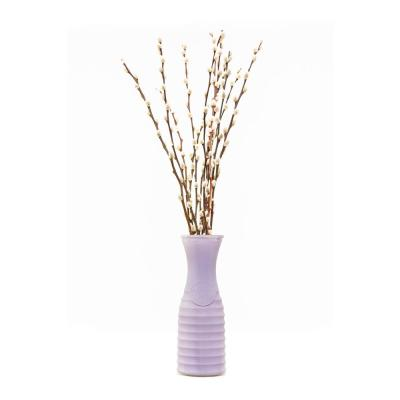 10 in. Willow Design Pussy Willow Assorted Mix Salix Caprea Plant in Purple Vase