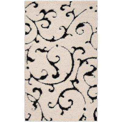 Florida Shag Ivory/Black 3 ft. 3 in. x 5 ft. 3 in. Area Rug