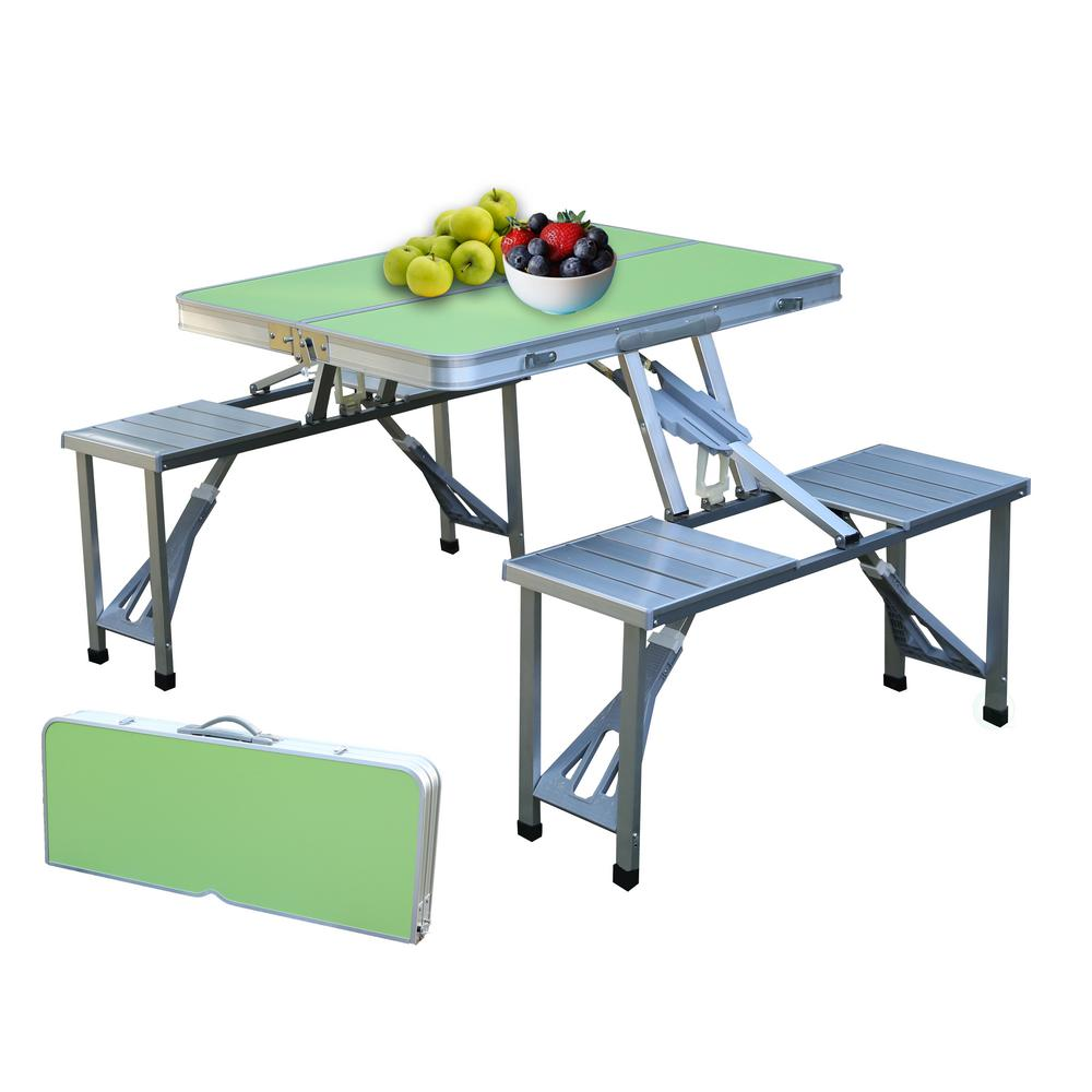 Super Green Aluminum Portable Picnic Folding Table With 2 Benches Onthecornerstone Fun Painted Chair Ideas Images Onthecornerstoneorg