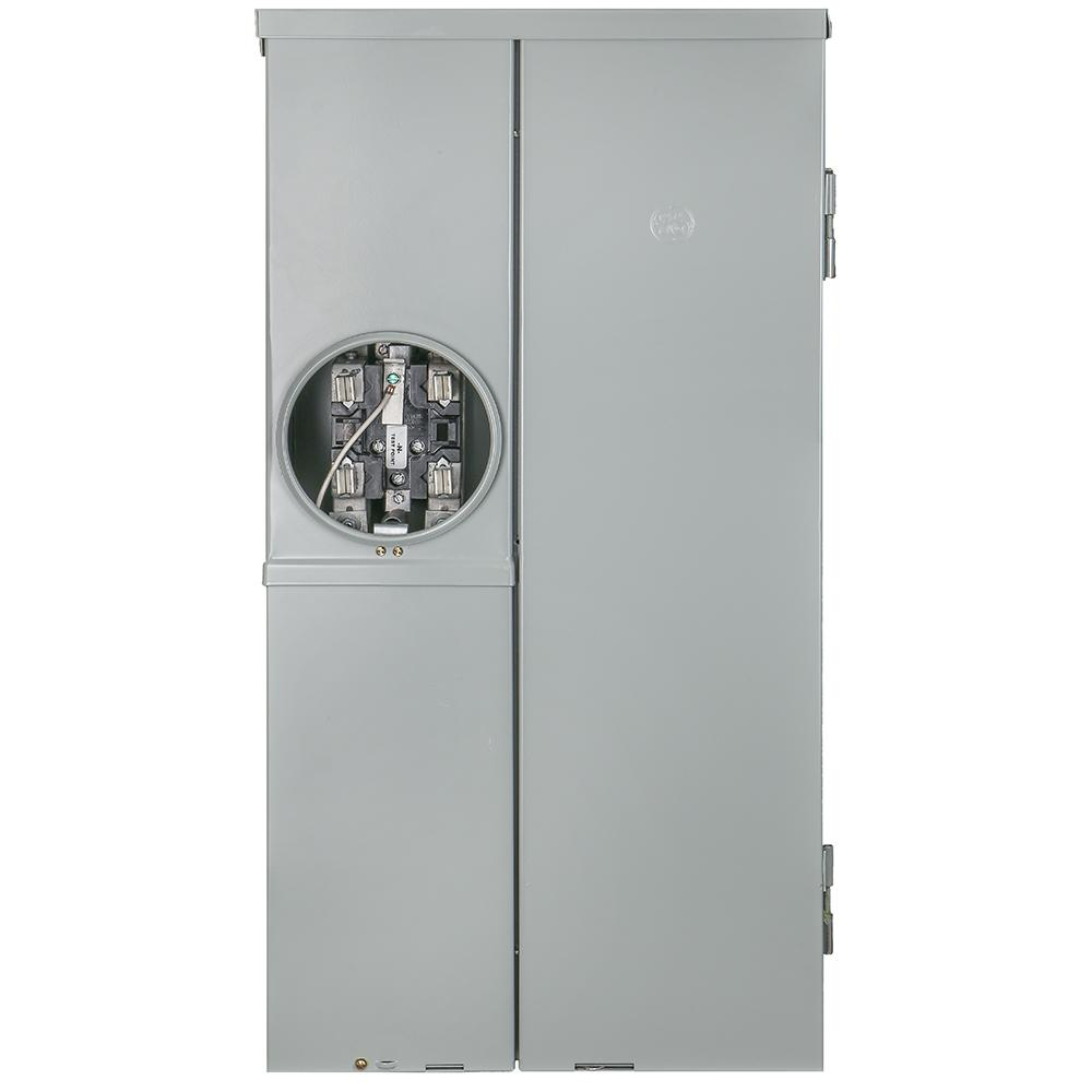 Ge 200 Amp 8 Space 16 Circuit Outdoor Combination Main Breaker Meter Socket Load Center Tsm820cscu The Home Depot