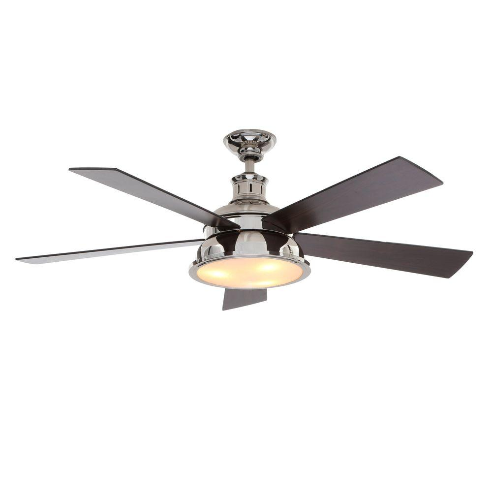 Hampton bay campbell 52 in led indoor brushed nickel ceiling fan marlton 52 in indoor liquid nickel ceiling fan with light kit mozeypictures Choice Image