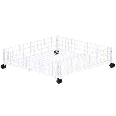 White Wire Collection 24 in. x 6.38 in. Rolling Underbed Cart