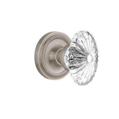 Rope Rosette 2-3/8 in. Backset Satin Nickel Passage Oval Fluted Crystal Glass Door Knob