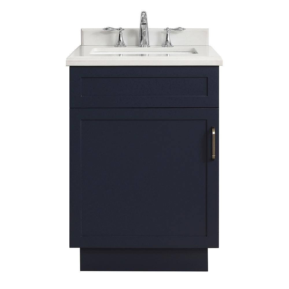 Home Decorators Collection Lincoln 24 in. W x 22 in. D Vanity in Midnight Blue with Marble Vanity Top in White with White Sink