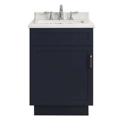 Lincoln 24 in. W x 22 in. D Vanity in Midnight Blue with Marble Vanity Top in White with White Sink
