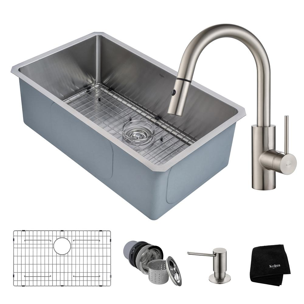 KRAUS Pax All-in-One Undermount Stainless Steel 29 in. Single Bowl ...