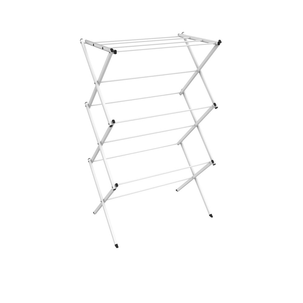 Lavish Home 28.75 in. x 41.75 in. 3-Tier Freestanding Collapsible Drying Laundry Garment Rack, White The 28.75 in. x 41.75 in. 3-Tier Freestanding Collapsible Drying Laundry Garment Rack by Lavish Home is a convenient small space laundry drying solution for any home. Providing over 24 ft. of drying space and made from sturdy aluminum, the clothing rack is practical, durable and long-lasting. This drying rack is conveniently lightweight and collapsible with an accordion design, for portability and compact storage when not in use. Suitable for inside or outside usage, this laundry rack can be used in your bathroom, laundry room or on your balcony; its ideal for homes with limited space like dorms, condos or apartments. Air drying racks are a clean, energy efficient option for drying clothes, hand washed dedicates, towels, blankets and more. Color: White.