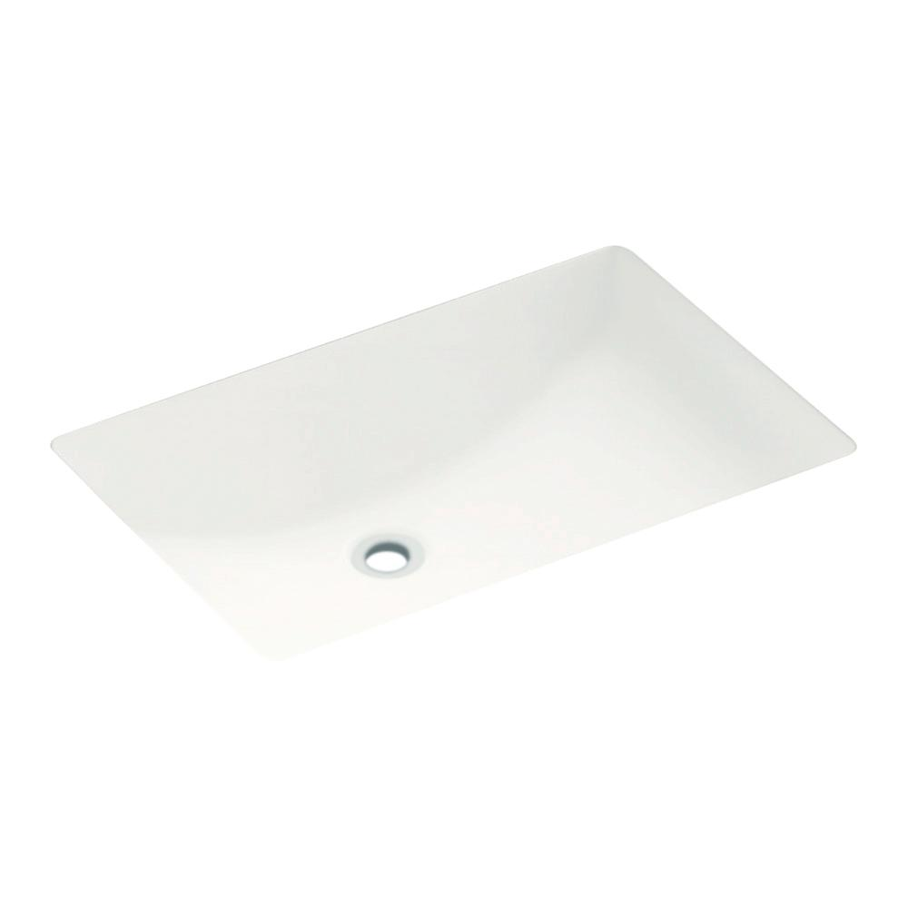 19 in. Rectangular Undermount Bathroom Sink in White