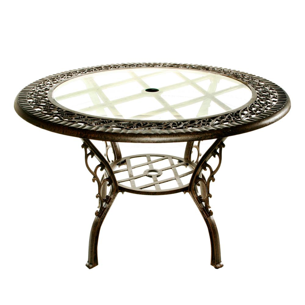 Antique bronze 48 in round iron patio dining table with tempered round iron patio dining table with tempered glass top watchthetrailerfo