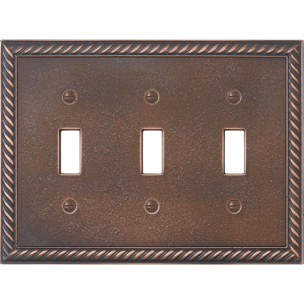 Hampton Bay Pearson Rope 3 Toggle Switch Wall Plate Oil Rubbed Bronze
