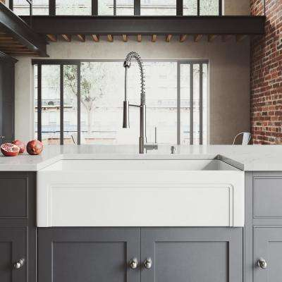 All-in-One Farmhouse Matte Stone 36 in. Single Bowl Kitchen Sink with Laurelton Faucet in Stainless Steel