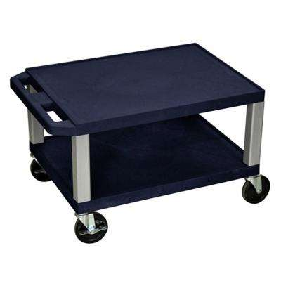 WT 24 in. A/V Cart, Navy Shelves and Nickel ColoRed Legs