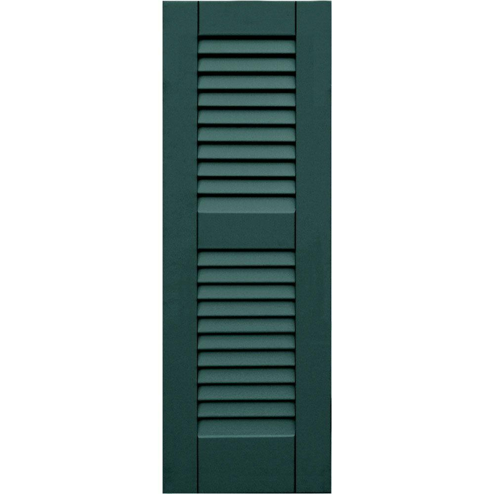 Winworks Wood Composite 12 in. x 35 in. Louvered Shutters Pair #633 Forest Green