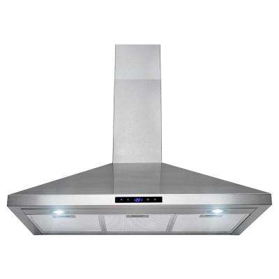 36 in. Convertible Kitchen Wall Mount Range Hood with Lights in Stainless Steel