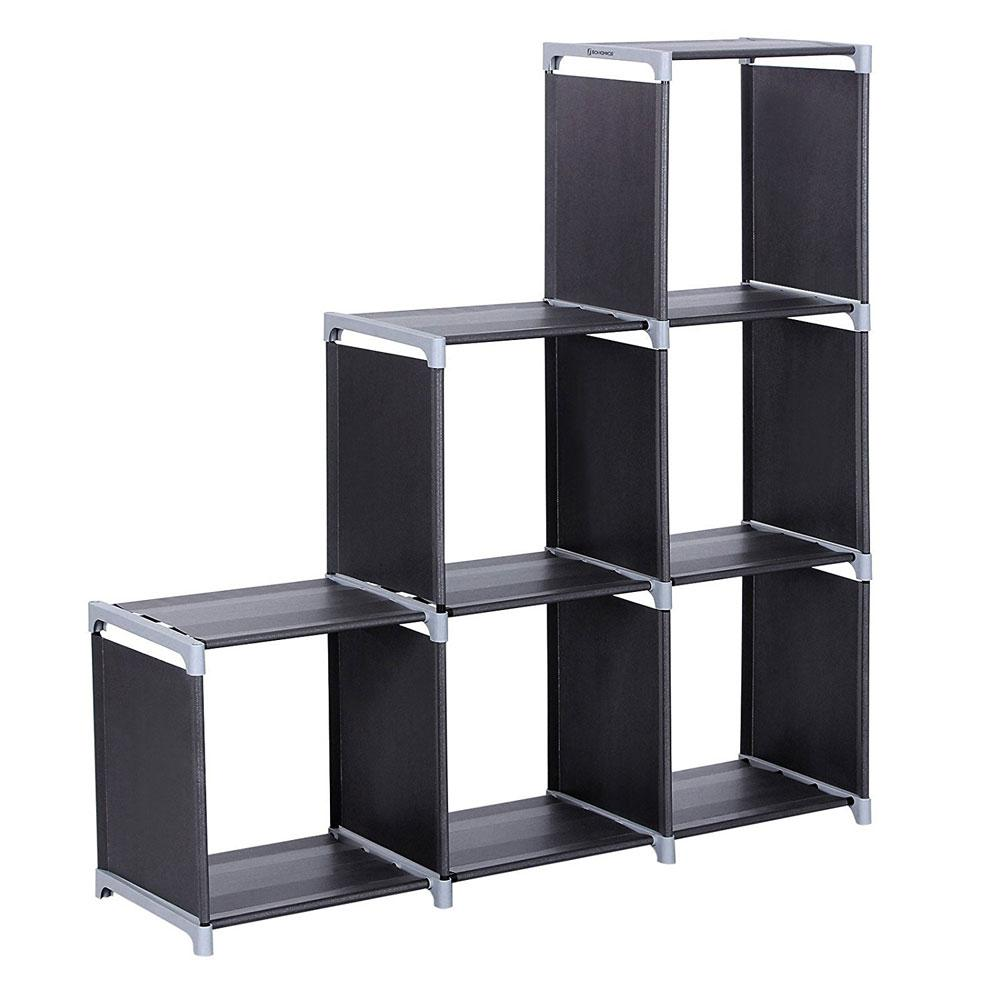 43 in. X 42 in. Black Steel Multifunctional Assembled 3-Layers 6-Compartments
