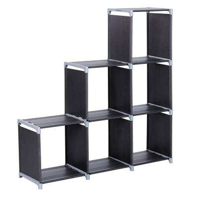 43 in. X 42 in. Black Steel Multifunctional Assembled 3-Layers 6-Compartments Storage Shelf