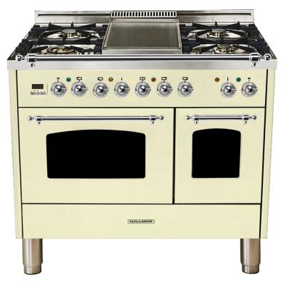 40 in. 4.0 cu. ft. Double Oven Dual Fuel Italian Range True Convection, 5 Burners, Griddle, Chrome Trim in Antique White